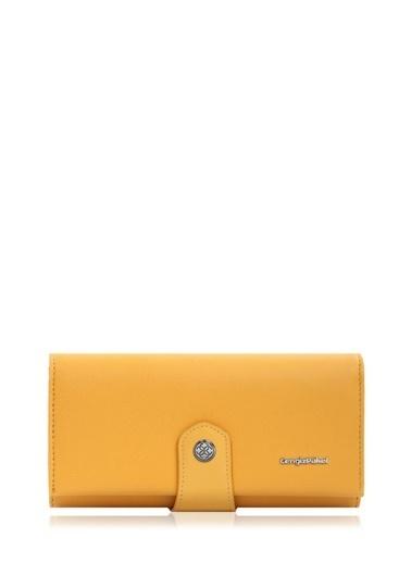 Cengiz Pakel 65222A Teknolojik Deri Orta Boy Renk Portföy Kadın Cüzdan Hardal